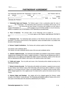 free free partnership agreement template  create a partnership stock option agreement startup template doc