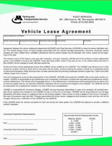 free free printable vehicle lease agreement  free printable lease to own template contract word