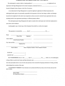 free personal guarantee of payment form  douglas county grant agreement template sample