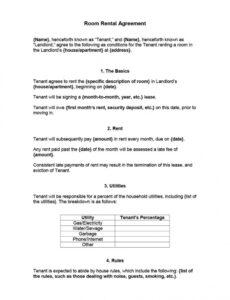 free simple room rental agreement template ~ addictionary renting a room contract template sample