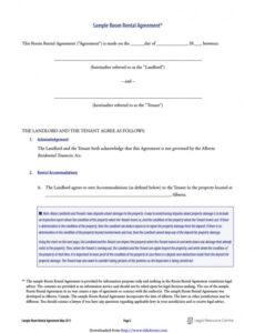 printable 39 simple room rental agreement templates  templatearchive renting a room contract template sample