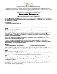 printable 40 free roommate agreement templates & forms word pdf contract forms template excel