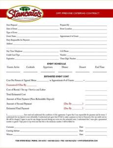 printable catering contract agreement template  sampletemplatess contract forms template excel