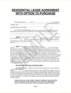 printable residential lease with an option to purchase agreement lease with option to buy contract template sample