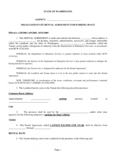 printable washington delegated state rental agreement for parking parking agreement template example