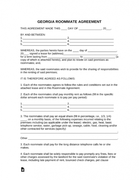 sample free georgia roommate room rental agreement template renting a room contract template pdf