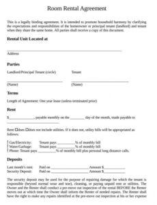 sample free roommate room rental agreement templates by state renting a room contract template