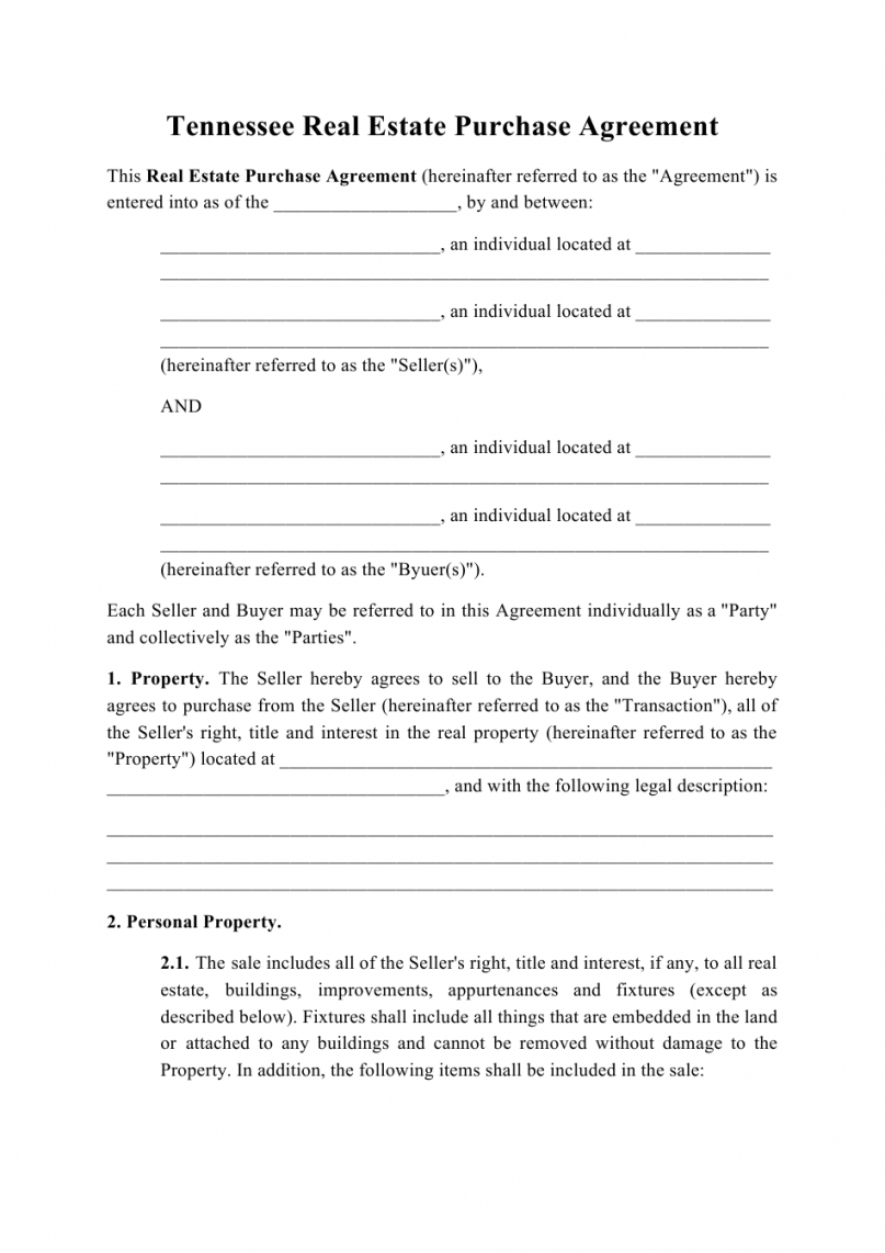 sample tennessee real estate purchase agreement template download purchasing agreement template pdf